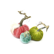 Velvet Pumpkin Trio with Feathers - Pastel