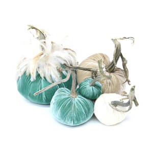 "The New LoveFeast Pumpkin Large set with Feathers includes an 8"" Lagoon with feather collar, 6"" Bone, 5"" Lagoon, 4"" Ivory , and 3"" Lagoon velvet pumpkin."