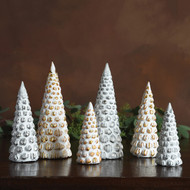 Set of 4 Small Snowy Glass Trees