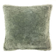 Sage Velvet Pillow with PomPom