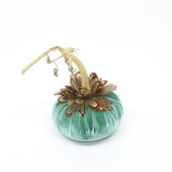 Lagoon Velvet Pumpkin with Pheasant Feathers