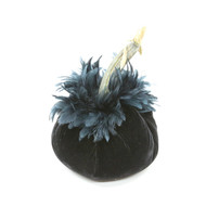 Ebony Velvet Pumpkin with Black Schlappen Feathers
