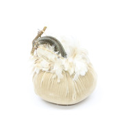 Bone Velvet Pumpkin with Ginger Schlappen Feathers