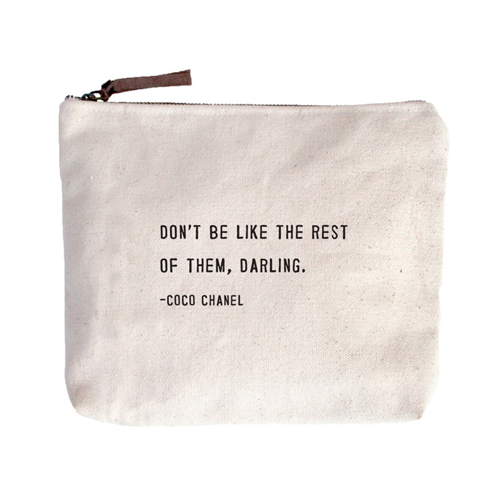 9058365d87 Coco Chanel Quote Canvas zip Bag - LoveFeast Shop