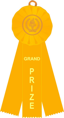 Grand Prize Stock Three Streamer Rosette Ribbon