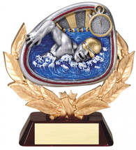 swimming resin trophy