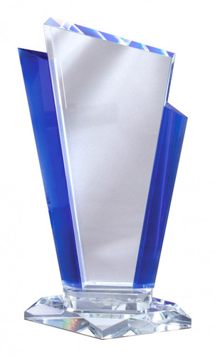 glass and blue accent award