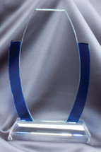 glass and blue accent barrel award
