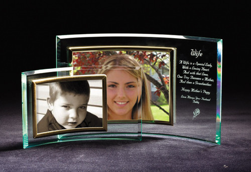 glass crescent photo frame