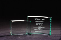 Crescent glass engraved award