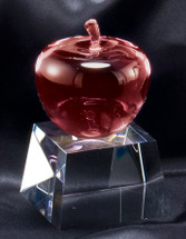 Red Apple on Crystal Base Teacher Award