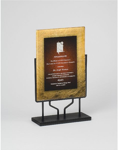 Designer Gold and Burgundy Rectangular Acrylic Award with Stand