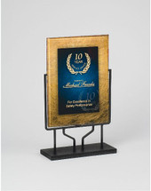 Designer Gold and Blue Rectangular Acrylic Award with Stand