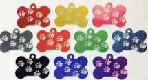 Bone shaped paw print dog tags