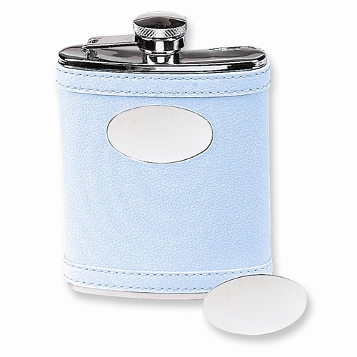 Stainless Steel Faux Leather Light Blue Flask