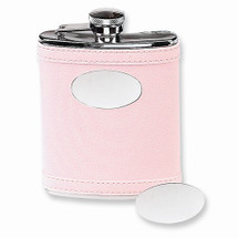 Stainless Steel Faux Leather PInk Flask