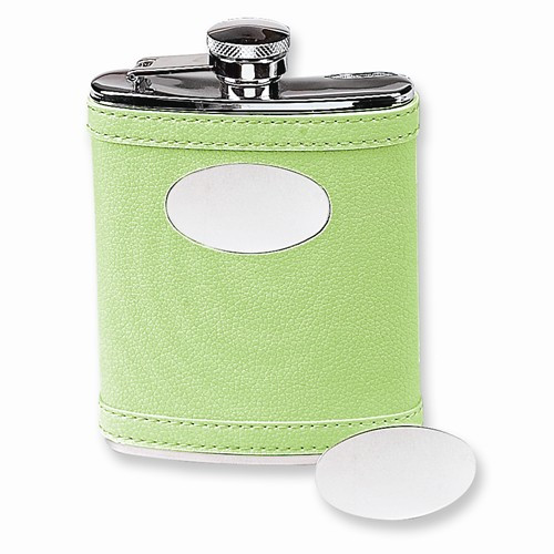 Stainless Steel Faux Leather Lime Green Flask