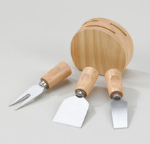 Wood Cheese Block w/ 3 Wood Handle Utensils
