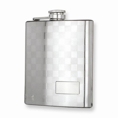 Polished Stainless Steel Checkerboard 7oz Flask