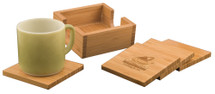 Bamboo Square 4 Coaster Set with Holder