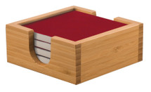 Square Red Laserable Coaster Set with Bamboo Holder