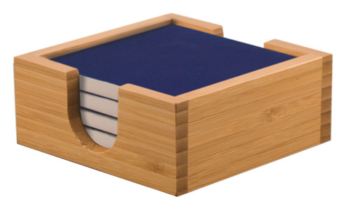 Square Blue Laserable Coaster Set with Bamboo Holder