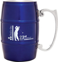 Blue Stainless Steel Barrel Mug with Handle 17 oz.