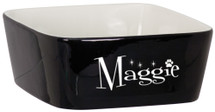 "7"" x 7"" Black Ceramic Snack or Pet Bowl"