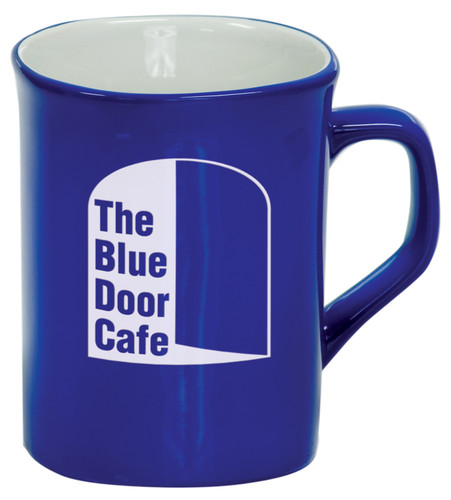 10 oz Blue Ceramic Rounded Corner Coffee Mug