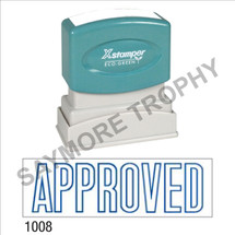 "Pre-Inked Stock Stamp ""APPROVED"" (BLUE) - Impression Size: 1/2"" x 1-5/8"""