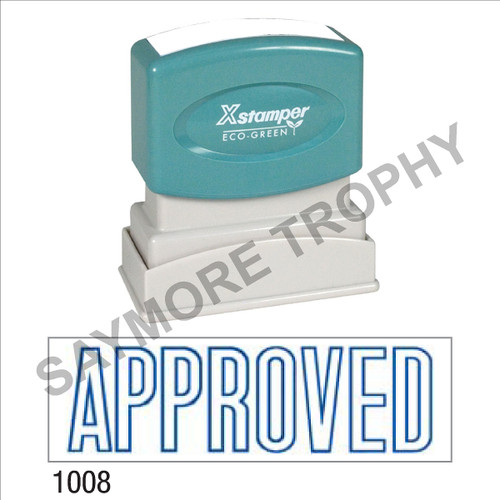 """Pre-Inked Stock Stamp """"APPROVED"""" (BLUE) - Impression Size: 1/2"""" x 1-5/8"""""""