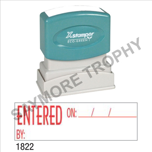 """Pre-Inked Stock Stamp """"ENTERED ON"""" (RED) - Impression Size: 1/2"""" x 1-5/8"""""""
