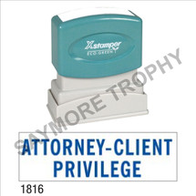 "Pre-Inked Stock Stamp ""ATTORNEY-CLIENT PRIVELAGE"" (BLUE) - Impression Size: 1/2"" x 1-5/8"""