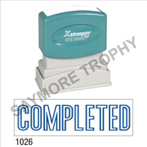 "Pre-Inked Stock Stamp ""COMPLETED"" (BLUE) - Impression Size: 1/2"" x 1-5/8"""