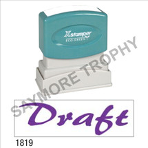 "Pre-Inked Stock Stamp ""DRAFT"" (PURPLE) - Impression Size: 1/2"" x 1-5/8"""