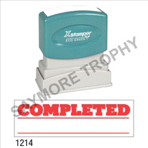 "Pre-Inked Stock Stamp ""COMPLETED with UNDERLINE"" (RED) - Impression Size: 1/2"" x 1-5/8"""