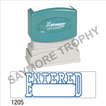 "Pre-Inked Stock Stamp ""ENTERED with BOX"" (BLUE) - Impression Size: 1/2"" x 1-5/8"""