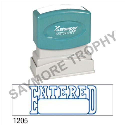 """Pre-Inked Stock Stamp """"ENTERED with BOX"""" (BLUE) - Impression Size: 1/2"""" x 1-5/8"""""""