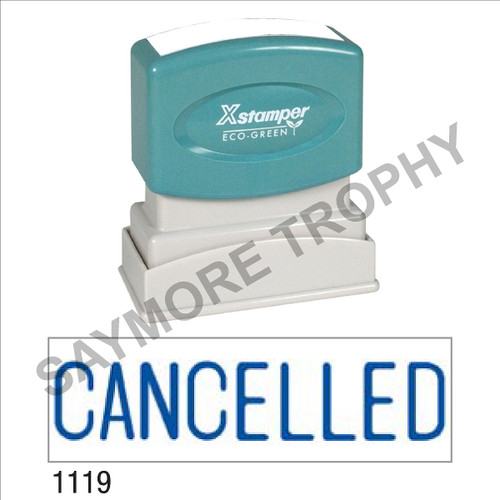 "Pre-Inked Stock Stamp ""CANCELLED"" (BLUE) - Impression Size: 1/2"" x 1-5/8"""