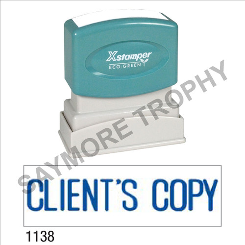 "Pre-Inked Stock Stamp ""CLIENT'S COPY"" (BLUE) - Impression Size: 1/2"" x 1-5/8"""