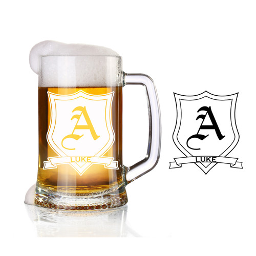 Personalized engraved shield glass beer stein