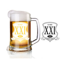 Personalized engraved finally legal glass beer stein