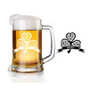 Personalized engraved Celtic glass beer stein