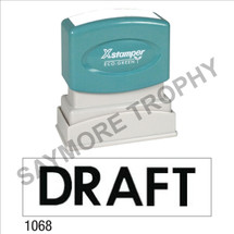 "XStamper Pre-Inked Stock Stamp ""DRAFT"" (BLACK) - Impression Size: 1/2"" x 1-5/8"""
