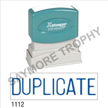 "XStamper Pre-Inked Stock Stamp ""DUPLICATE"" (BLUE) - Impression Size: 1/2"" x 1-5/8"""