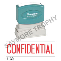 "XStamper Pre-Inked Stock Stamp ""CONFIDENTIAL"" (RED) - Impression Size: 1/2"" x 1-5/8"""