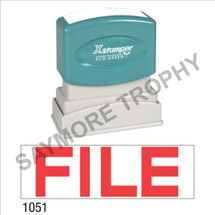 "XStamper Pre-Inked Stock Stamp ""FILE"" (RED) - Impression Size: 1/2"" x 1-5/8"""