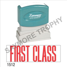 "XStamper Pre-Inked Stock Stamp ""FIRST CLASS"" (RED) - Impression Size: 1/2"" x 1-5/8"""