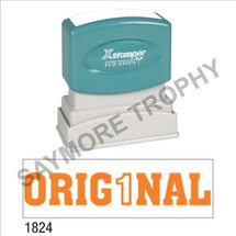 "XStamper Pre-Inked Stock Stamp ""ORIGINAL"" (ORANGE) - Impression Size: 1/2"" x 1-5/8"""