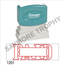 "XStamper Pre-Inked Stock Stamp ""PAID W/BOX"" (RED) - Impression Size: 1/2"" x 1-5/8"""